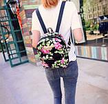 Женские маленькие рюкзачки с цветами, фото 5