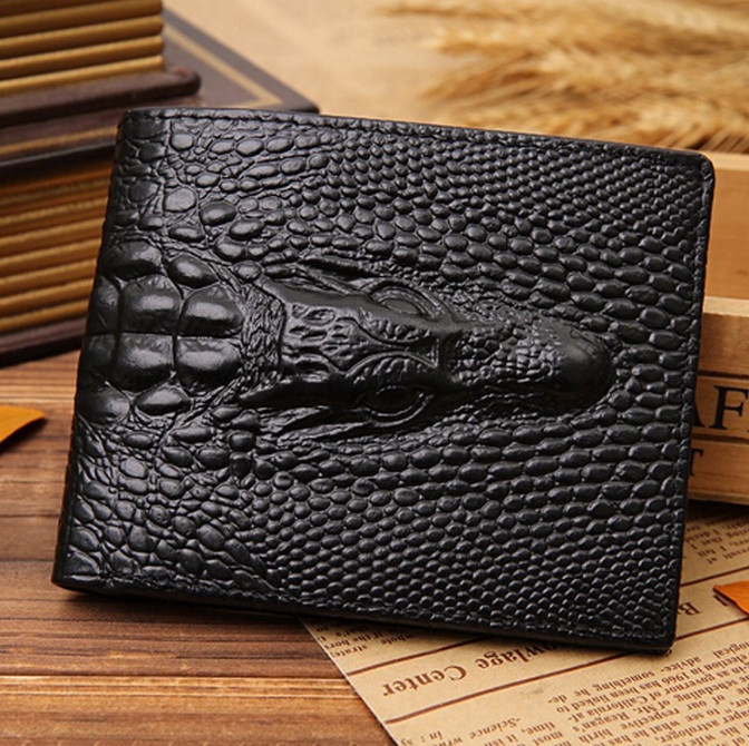 Мужской кожаный кошелек с крокодилом