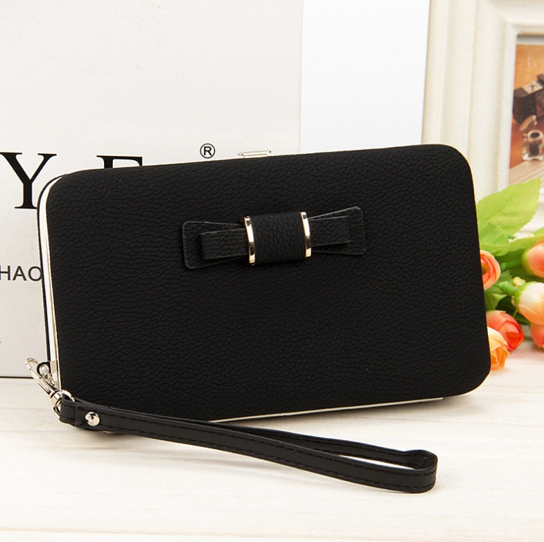 Черный женский клатч кошелек с бантиком
