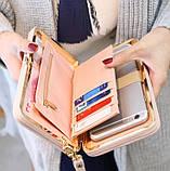 Розовый женский кошелек клатч с бантиком, фото 2