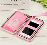 Розовый женский кошелек клатч с бантиком, фото 3