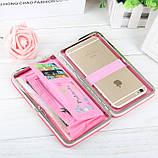 Розовый женский кошелек клатч с бантиком, фото 4
