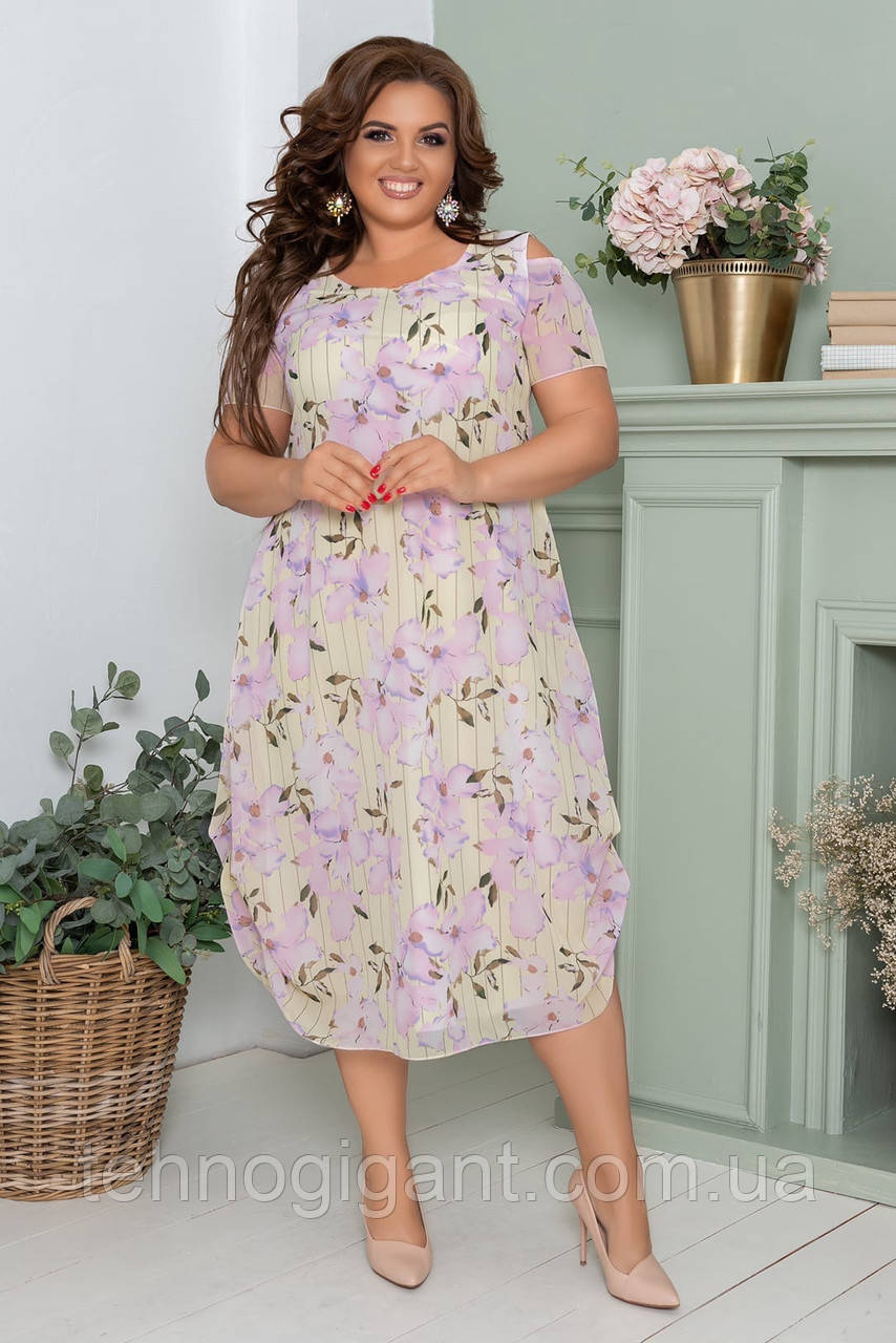 Нарядное летнее шифоновое платье больших размеров 52,54,56, Светлый лимон с цветочным принтом