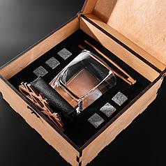 Камни для виски. Подарок мужу. Камни для виски подарочный темный деревянный набор с бокалом Светлая коробка + Бокал Sterling 300 мл