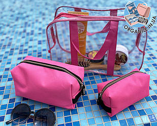 Комплект для пляжа - сумка силиконовая + 2 косметички (розовый)