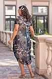 Нарядное летнее шифоновое платье с открытыми плечами больших размеров 50,52,54,56, цветочным принтом Серое, фото 4
