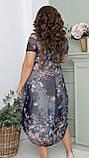 Нарядное летнее шифоновое платье с открытыми плечами больших размеров 50,52,54,56, цветочным принтом Серое, фото 6