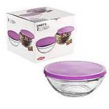 Набор стеклянных салатников с фиолетовой крышкой Pasabahce Чефс 200 мм 2 шт (53573/кр), фото 2