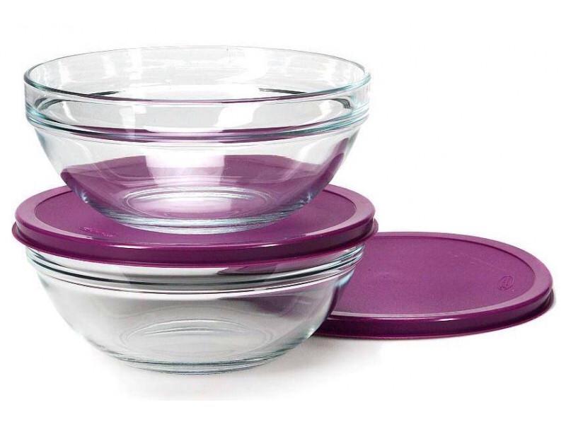 Набор стеклянных салатников с фиолетовой крышкой Pasabahce Чефс 200 мм 2 шт (53573/кр)