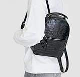 Чорний жіночий міні рюкзак, фото 4