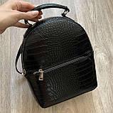 Чорний жіночий міні рюкзак, фото 8
