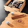 Камни для виски. Подарок мужу. Камни для виски подарочный темный деревянный набор с бокалом Светлая коробка + Бокал Bohemia Quadro 340 мл, фото 3