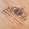 Камни для виски. Подарок мужу. Камни для виски подарочный темный деревянный набор с бокалом Светлая коробка + Бокал Bohemia Quadro 340 мл, фото 4