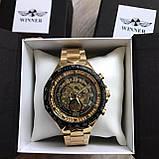 Чоловічий наручний годинник Winner Gold механіка в коробці, фото 3