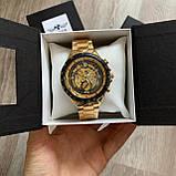 Чоловічий наручний годинник Winner Gold механіка в коробці, фото 5