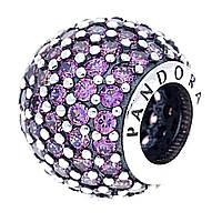 """Серебряный шарм Pandora """"Фиолетовый шар паве"""" 791051CFP"""