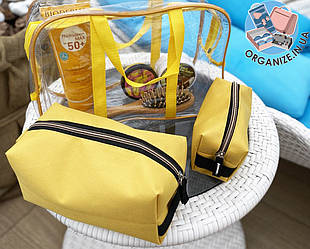 Комплект для пляжа - сумка силиконовая + 2 косметички (желтый)