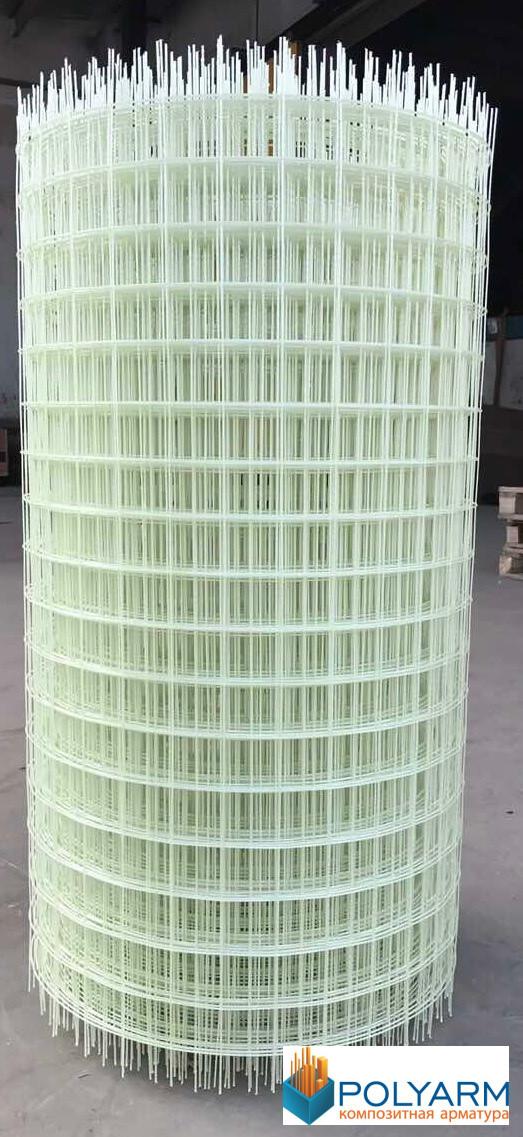 Композитная строительная сетка Polyarm 100х100 мм, диаметр сетки 3 мм (сертификат)