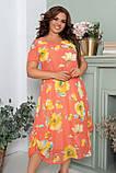 Нарядное летнее шифоновое платье больших размеров 52,54,56, Коралловое  с цветочным принтом, фото 3