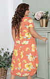 Нарядное летнее шифоновое платье больших размеров 52,54,56, Коралловое  с цветочным принтом, фото 4