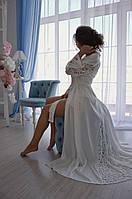 Шелковый комплект в пол (пеньюар+сорочка) ХИТ продаж среди невест!