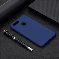 Чехол Soft Touch для Oppo A12 силикон бампер темно-синий