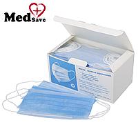 Маски защитные для лица трехслойные уп. 50 штук, медицинские маски одноразовые штампованные сертифицированные