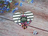 """Мини-открытка, тэг """"Best Wishes"""", 84х70 мм, 1 шт"""