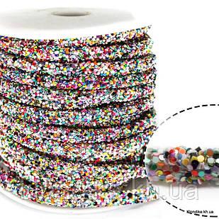 Полый Шнур в Блёстках, 6 мм, Цвет: Микс (50 см)