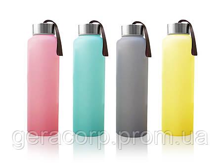 Стеклянная бутылка для воды с силиконовой защитой Everyday Baby 400мл. Цвет розовый, фото 2