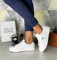 Кроссовки кожаные бронзовые кеды и белые кожаные на шнурках белая подошва размер 36-40, фото 2