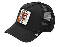 Кепка бейсболка Тракер с сеткой Goorin Brothers Bros Animal Farm Tiger Тигр Черная