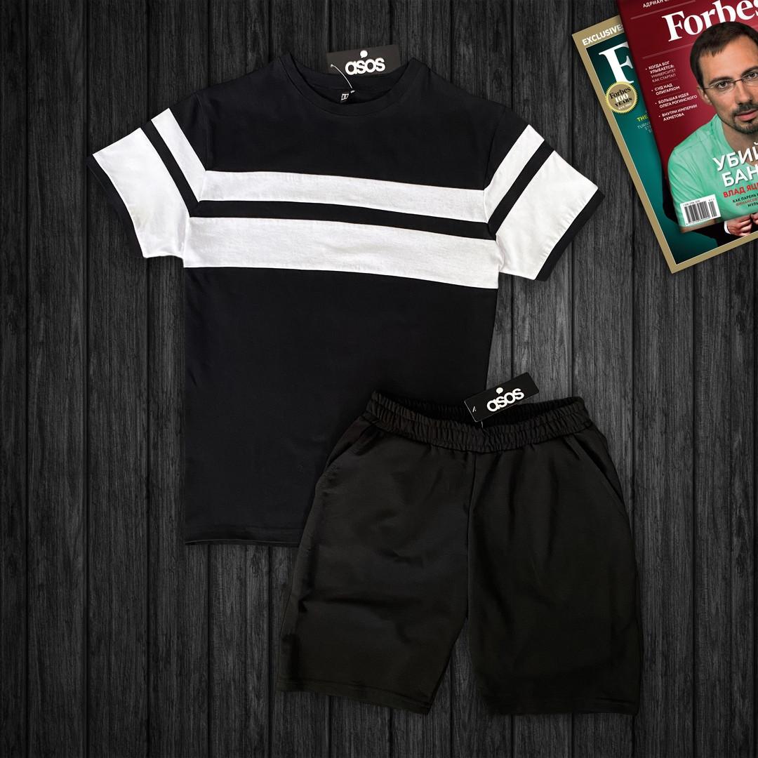 Мужской стильный костюм:футболка и шорты,черного цвета
