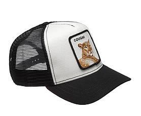 Кепка бейсболка Тракер с сеткой Goorin Brothers Bros Animal Farm Cougar Ягуар Черно-белая, фото 3