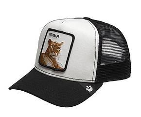Кепка бейсболка Тракер с сеткой Goorin Brothers Bros Animal Farm Cougar Ягуар Черно-белая, фото 2
