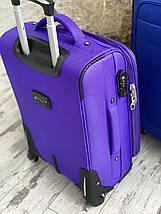 Средний текстильный чемодан тканевый 4 колеса фиолетовый, фото 3