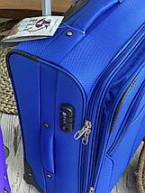 Большой текстильный чемодан тканевый 4 колеса синий, фото 2