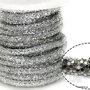 Полый Шнур в Блёстках, 6 мм, Цвет: Серебро (50 см)
