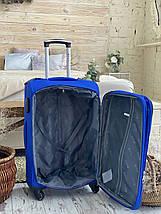 Средний текстильный чемодан тканевый 4 колеса синий, фото 2