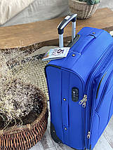 Средний текстильный чемодан тканевый 4 колеса синий, фото 3