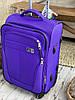 Средний текстильный чемодан тканевый 4 колеса синий, фото 4