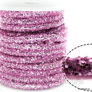 Полый Шнур в Блёстках, 6 мм, Цвет: Розовый (50 см)