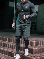Комплект SLS Dark Dreen Компрессионная одежда Оджеда для спортзала UFC 3в1 Рашгард Мужские леггинсы