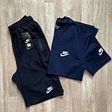 Синий мужской спортивный комплект шорты с футболкой. Летний спортивный костюм Nike реплика. Футболка + шорты, фото 3