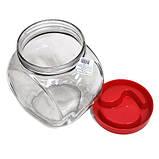 """Банка стеклянная 1730 мл """"Sweet"""" Everglass для хранения сыпучих и круп с красной крышкой, фото 2"""