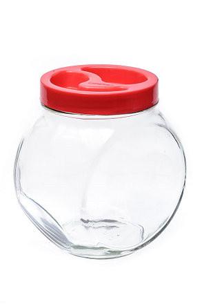 """Банка стеклянная 1730 мл """"Sweet"""" Everglass для хранения сыпучих и круп с красной крышкой"""