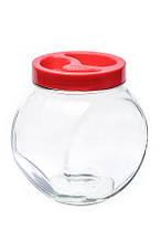 """Банка скляна 1730 мл """"Sweet"""" Everglass для зберігання сипучих і круп з червоною кришкою"""