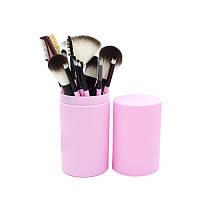 Набор 12 шт кисточек для макияжа в тубе