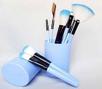 Набор кистей для макияжа в тубе, 12 шт., голубые. Качественные кисти для макияжа.