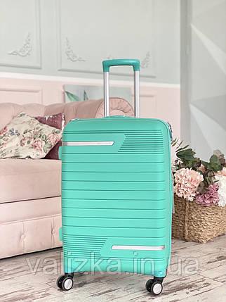 Маленький пластиковый чемодан из полипропилена для ручной клади мятный Франция, фото 2
